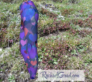 Hearts Yoga Leggings for Women, Valentines Gift for Her by Artist Rachael Grad side view