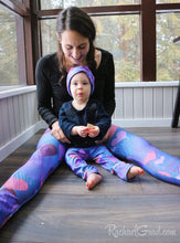 Load image into Gallery viewer, Valentines hearts leggings on Mom and Baby by Artist Rachael Grad