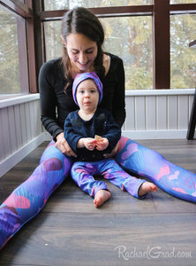 Valentines hearts leggings on Mom and Baby by Artist Rachael Grad