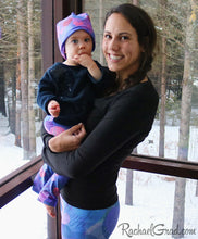 Load image into Gallery viewer, Valentines hearts leggings on Mom and Baby by Artist Rachael Grad with baby beanie hat
