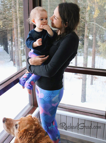 Valentines hearts leggings on Mom and Baby by Artist Rachael Grad dog