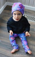 Load image into Gallery viewer, Valentines baby hat and leggings on baby Rachel by Artist Rachael Grad top view