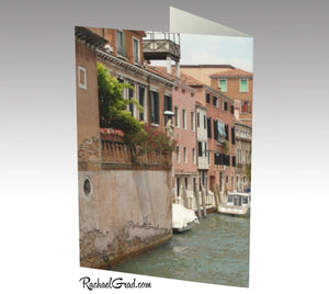Venice, Italy, Canal Water and Boats Note Card Stationery by Rachael Grad back of cards