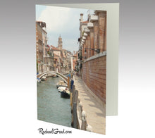 Load image into Gallery viewer, Venice, Italy, Canal Water and Boats Note Card Stationery by Rachael Grad, front side