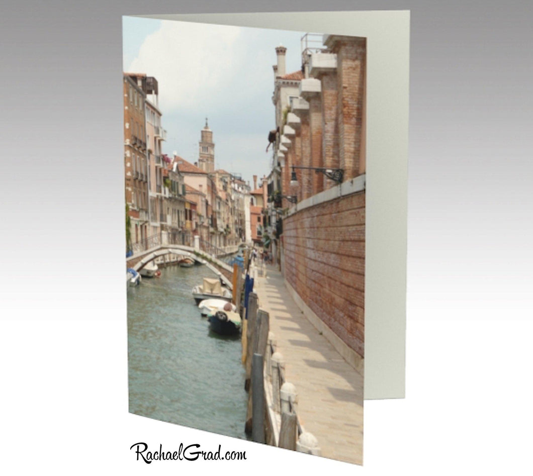 Venice, Italy, Canal Water and Boats Note Card Stationery by Rachael Grad, front side