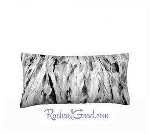 White and Black Pillow Long by Toronto Artist Rachael Grad back