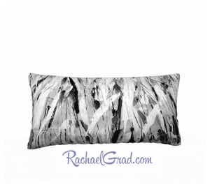 White and Black Pillow Long by Toronto Artist Rachael Grad front