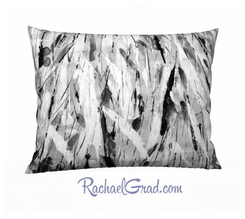 Pillowcase White and Black Brushstrokes, 26 x 20 by Toronto Artist Rachael Grad front
