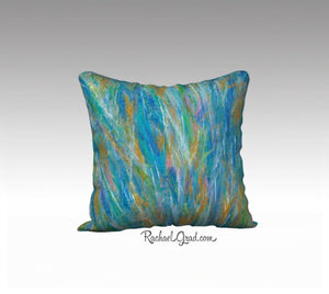 Blue Green Wild Flowers Abstract Art Pillowcase by Toronto Artist Rachael Grad