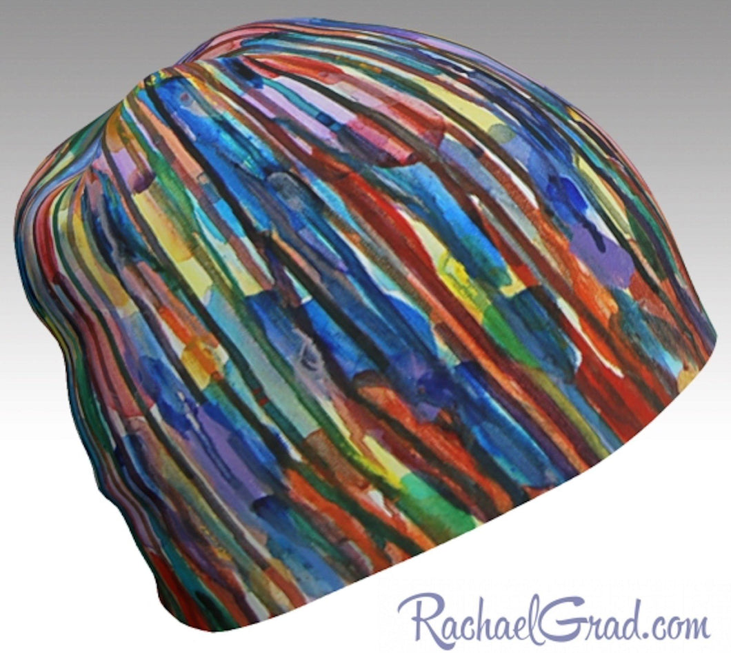 Winter Hat Beanie with Colorful Stripes Toque Women, Kids Beanie Hat Multicolor Art Hats Beanie Women Colorful Hats for Her, Winter Gifts by Toronto Artist Rachael Grad side view