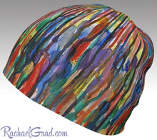 Load image into Gallery viewer, Winter Hat Beanie with Colorful Stripes Toque Women, Kids Beanie Hat Multicolor Art Hats Beanie Women Colorful Hats for Her, Winter Gifts by Toronto Artist Rachael Grad