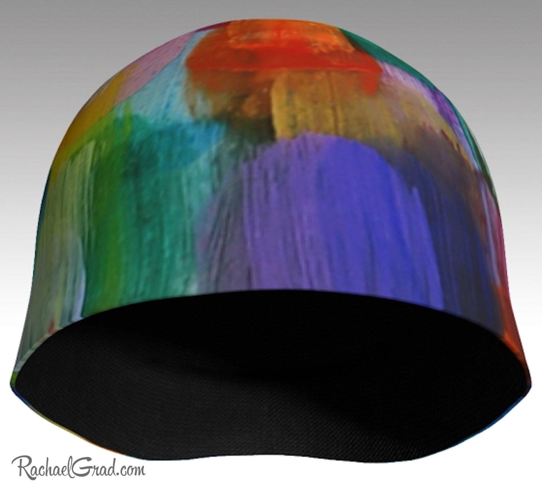 Winter Hat Rainbow Colourful Toque Women, Kids Beanie Hat Multicolor Art Pattern Hats Beanie Women Colorful Hats for Her, Winter Gifts LGTBQ by Artist Rachael Grad front view