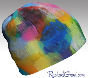 Winter Hat Rainbow Colourful Toque Women, Kids Beanie Hat Multicolor Art Pattern Hats Beanie Women Colorful Hats for Her, Winter Gifts LGTBQ by Artist Rachael Grad side view