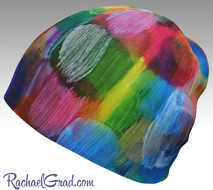 Winter Hat Rainbow Colourful Toque Women, Kids Beanie Hat Multicolor Art Pattern Hats Beanie Women Colorful Hats for Her, Winter Gifts LGTBQ by Toronto Artist Rachael Grad