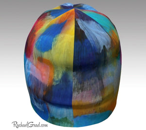 Winter Hat Rainbow Colourful Toque Women, Kids Beanie Hat Multicolor Art Pattern Hats Beanie Women Colorful Hats for Her, Winter Gifts LGTBQ by Artist Rachael Grad top back view