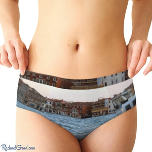 Women's Briefs Venice Giudecca Island and Vaporetto Boat by Artist Rachael Grad front on model