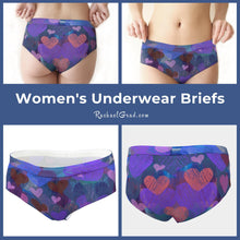 Load image into Gallery viewer, Womens underwear boxer briefs Valentines hearts by Artist Rachael Grad