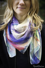 Load image into Gallery viewer, Yellow Abstract Art Scarf by Artist Rachael Grad on model