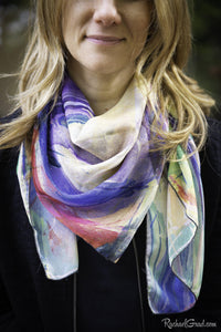 Yellow Abstract Art Scarf by Artist Rachael Grad on model