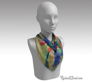 Yellow Abstract Marks Art Scarf Floral by Toronto Artist Rachael Grad 26 inch square scarves