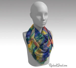 Yellow Abstract Marks Art Scarf Floral by Toronto Artist Rachael Grad 36 inch square scarves
