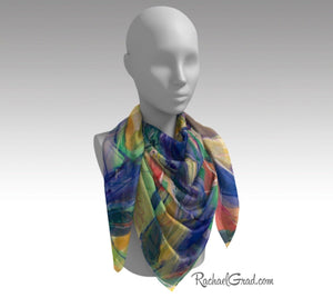 Yellow Abstract Marks Art Scarf Floral by Toronto Artist Rachael Grad 50 inch square scarves