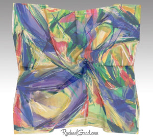 Yellow Abstract Marks Art Scarf Floral by Toronto Artist Rachael Grad full view