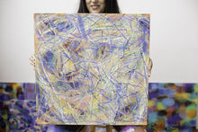 Load image into Gallery viewer, Yellow Blue Abstract Marks Painting Held by Toronto Artist Rachael Grad