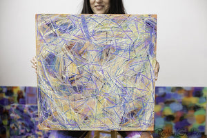Yellow Blue Abstract Marks Painting Held by Toronto Artist Rachael Grad