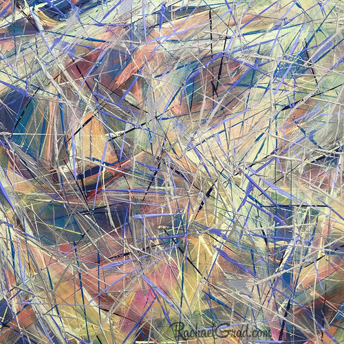 Yellow Blue Abstract Marks Painting Closeup by Toronto Artist Rachael Grad