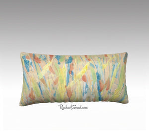 Yellow Grass Abstract Art Long Pillowcase Toronto Artist Rachael Grad front view
