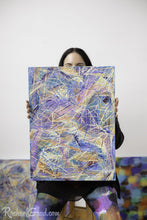 Load image into Gallery viewer, Yellow Multicolor Abstract Marks Painting Held by Toronto Artist Rachael Grad