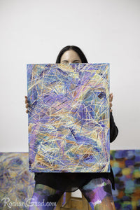 Yellow Multicolor Abstract Marks Painting Held by Toronto Artist Rachael Grad