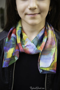 Yellow green blue red art scarf by Artist Rachael Grad on model