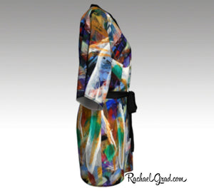 Abstract Art Kimono Robe | Art Robes for Women Side View by Artist Rachael Grad