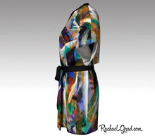 Load image into Gallery viewer, Black Kimono Bathrobe | Black Robe | Original Black Abstract Art | Brides Kimono Robes Side View by Artist Rachael Grad
