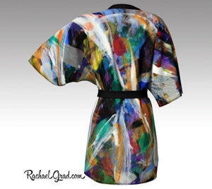 Abstract Art Black Kimono Robe by Artist Rachael Grad Canadian Made Luxury Bathrobe back view canada