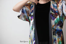 Load image into Gallery viewer, black abstract art robe on rachael grad artist kimono bathrobe