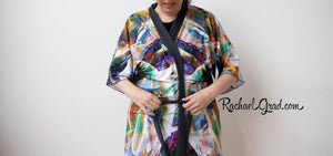 Artist Rachael Grad in Abstract Art Kimino Robe 100% Canadian made Canada