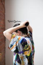 Load image into Gallery viewer, Abstract Art Kimono Robe | Art Robes for Women | Black Kimono Bathrobe | Black Robe | Original Black Abstract Art | Brides Kimono Robes Rachael Grad Artist