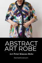 Load image into Gallery viewer, Abstract Art Black Kimono Robe Artist Rachael Grad Bathrobe