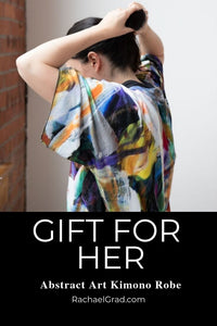 gift for her abstract art kimono robe by artist Rachael Grad artwork bathrobe