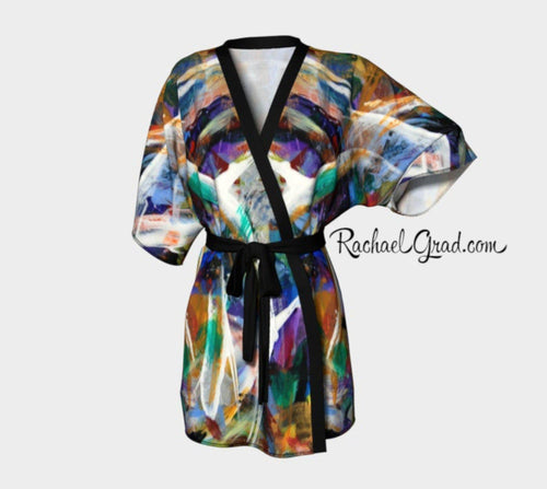 Abstract Art Black Kimono Robe by Artist Rachael Grad Canadian Made Luxury Bathrobe