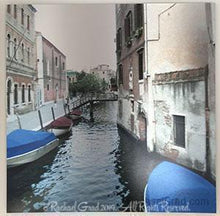 "Load image into Gallery viewer, Blue Boats, Venice, Italy, Ink on Metal Limited Edition Print, 32' x 32'-rachaelgrad-32"" x 32""-rachaelgrad artsy gifts colorful artwork multicolor"