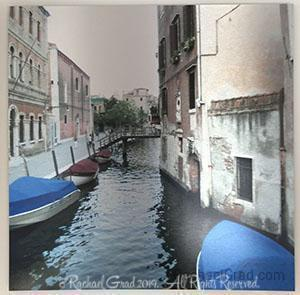 "Blue Boats, Venice, Italy, Ink on Metal Limited Edition Print, 32' x 32'-rachaelgrad-32"" x 32""-rachaelgrad artsy gifts colorful artwork multicolor"