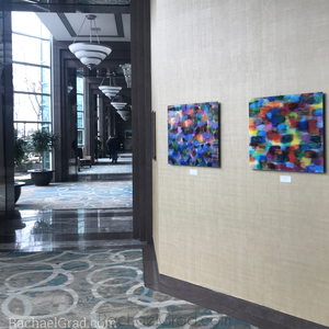 Colorful Abstract Multicolor Acrylic Art Print in Blues, Purples & Multicolors by Artist Rachael Grad on view at the Hilton Toronto/Markham Suites
