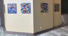 Load image into Gallery viewer, Colorful Abstract Multicolor Acrylic Art Print in Blues, Purples & Multicolors by Artist Rachael Grad on view at the Hilton Toronto/Markham Suites