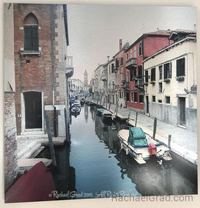"Canal Reds, Venice , Italy, Ink on Metal Limited Edition Print, 32"" x 32""-rachaelgrad-32"" x 32""-rachaelgrad artsy gifts colorful artwork multicolor $600"