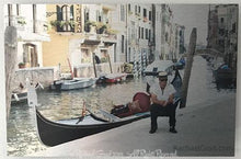 "Load image into Gallery viewer, Gondolier Resting, Venice, Italy, Ink on Metal Limited Edition Print, 12"" x 18""-rachaelgrad-18"" x 12""-rachaelgrad artsy gifts colorful artwork multicolor"