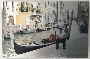 "Gondolier Resting, Venice, Italy, Ink on Metal Limited Edition Print, 12"" x 18""-rachaelgrad-18"" x 12""-rachaelgrad artsy gifts colorful artwork multicolor"